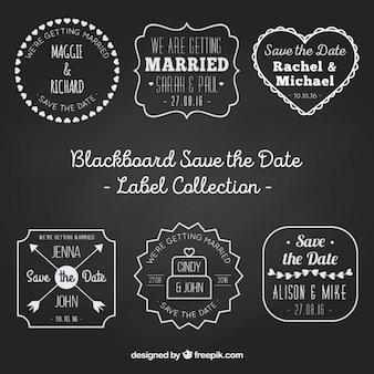 Labels über hochzeiten auf schwarzem hintergrund