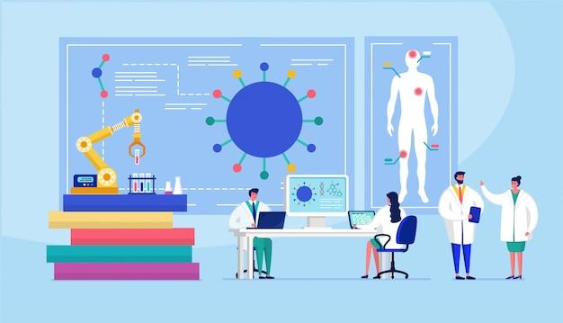 Labor coronavirus impfstoff antivirale biologie forschung antivirus ärzte illustration. wissenschaftler im labor, chemische forscher mit laborgeräten