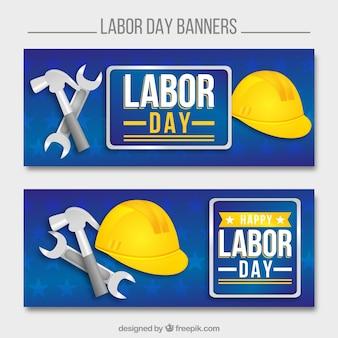 Labor day banner mit helm und werkzeug