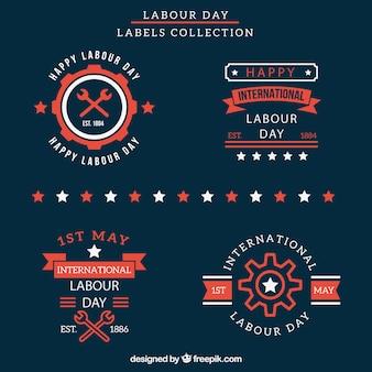 Labor day-etiketten sammlung