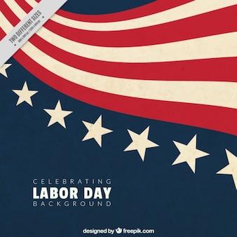 Labor day hintergrund mit flagge der vereinigten staaten