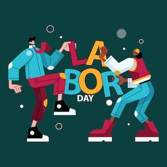 Labor day illustration flacher charakter