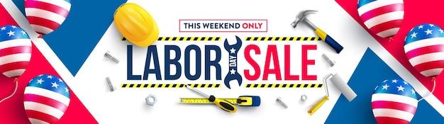 Labor day poster-vorlageusa labor day feier mit sicherheitshelm und bauwerkzeugen