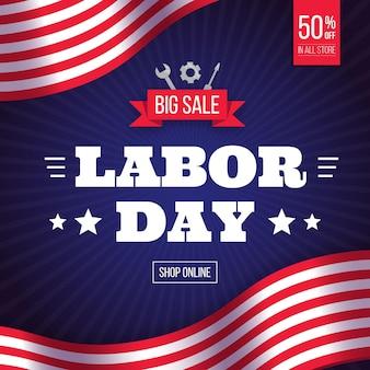 Labor day sale banner mit werkzeugen