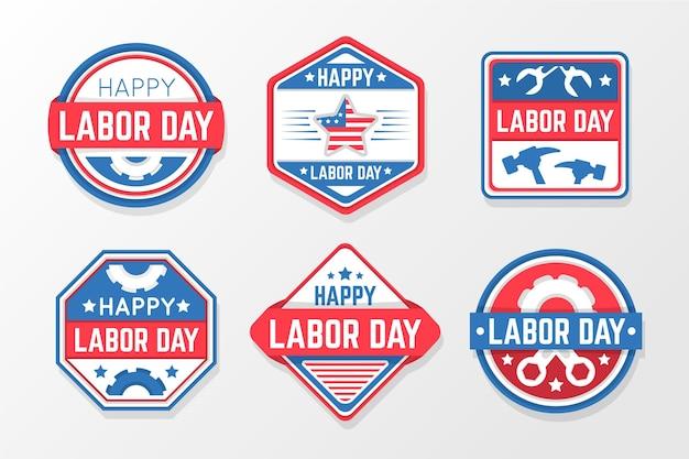 Labor day (usa) etiketten- / abzeichen-kollektion in flachem design