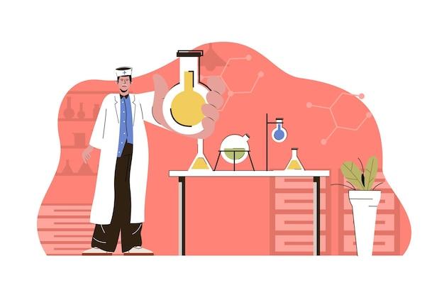 Laborassistent für medizinisches forschungskonzept führt tests in flaschen im labor durch