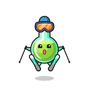 Laborbecher-maskottchen-charakter als skispieler, süßes stildesign für t-shirt, aufkleber, logo-element