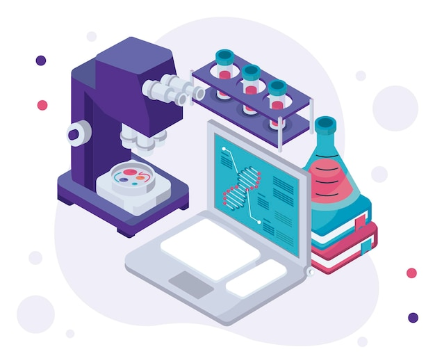 Laborcomputer und mikroskop