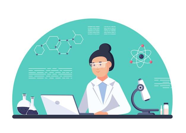 Laborforscherin - isolierte wissenschaftlerin im laborkittel mit chemischen glaswaren