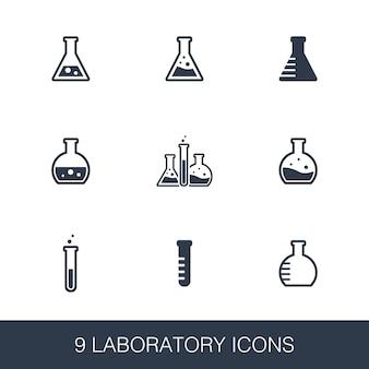 Laborikonen eingestellt. glyphenzeichen im einfachen design. laborsymbolvorlage. universelles stilsymbol, kann für web- und mobile benutzeroberflächen verwendet werden