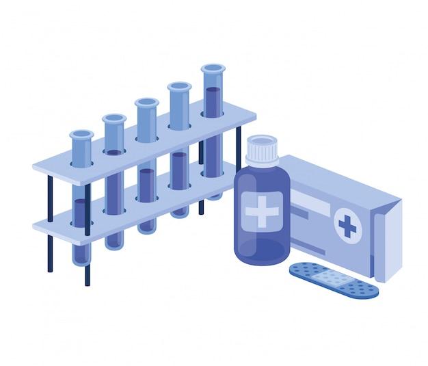 Laborinstrumente mit medizin auf weiß