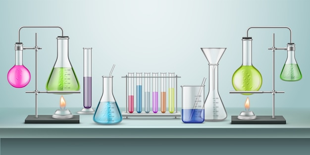 Laborkolben mit rohren