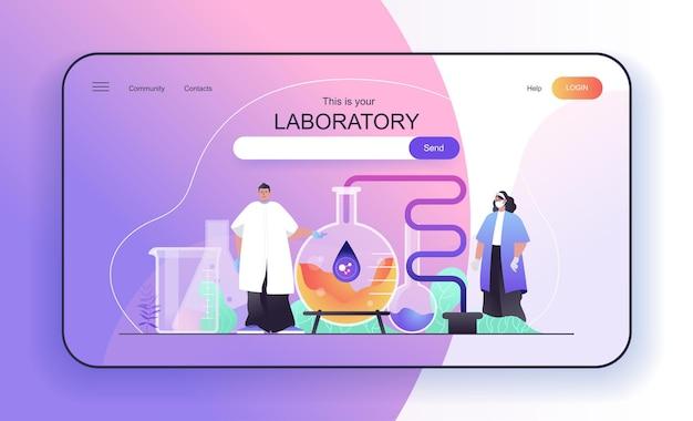 Laborkonzept für landingpage-wissenschaftler machen wissenschaftliche chemische experimente im labor