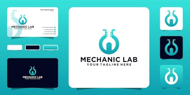 Labormechaniker design logo inspirationsvorlage und visitenkartendesign