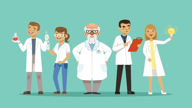 Laborteam. team von wissenschaftlern oder ärzten, forschern. cartoon krankenhauspersonal, virologen-vektor-illustration. forschungsteam labor frau und mann, analyse pharmazeutik