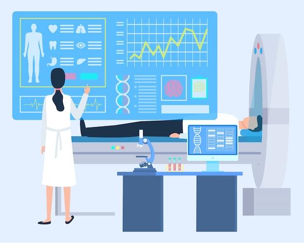 Labortechniker, patientenkardiogramm, klinik