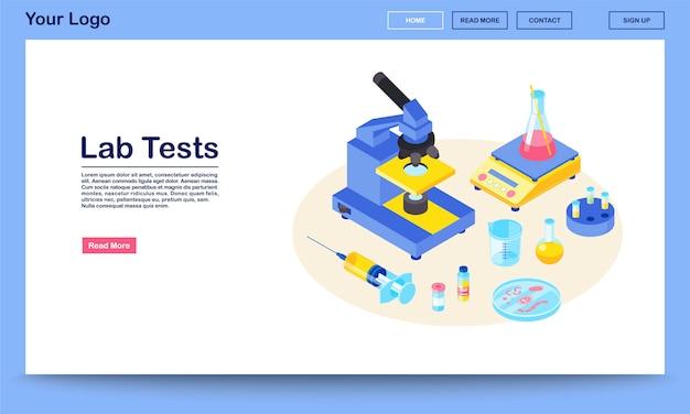 Labortests webseitenvektorschablone mit isometrischer illustration. medizinische analyse. diagnostische laborforschung. mikroskop, spritze, becher. zielseite für das design der website-oberfläche