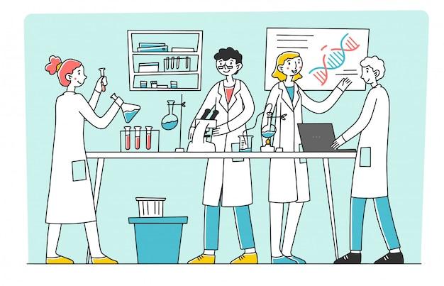 Laborwissenschaftler, der forschungsarbeitsillustration durchführt
