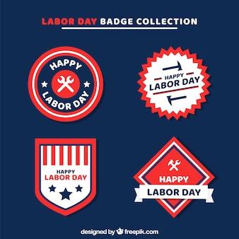 Labour Day Abzeichen Sammlung in flachen Stil
