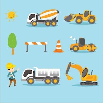 Labourer mit Lastwagen und Traktoren