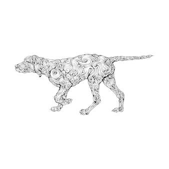 Labrador hund ornament in der hand zeichnen