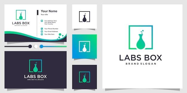 Labs box logo mit modernem stil und visitenkartendesignschablone premium-vektor