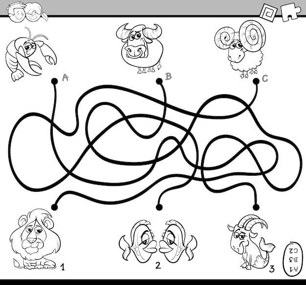 Labyrinth-aktivitätsaufgabe zum färben