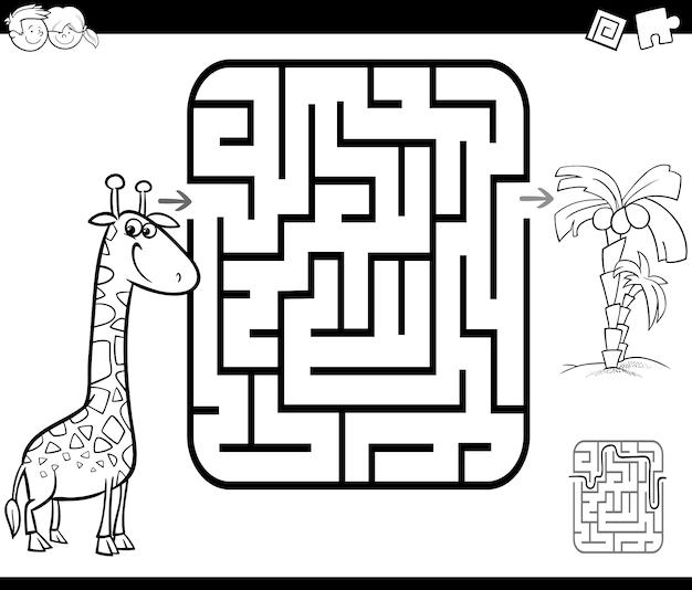 Labyrinth-aktivitätsspiel mit giraffe und palme
