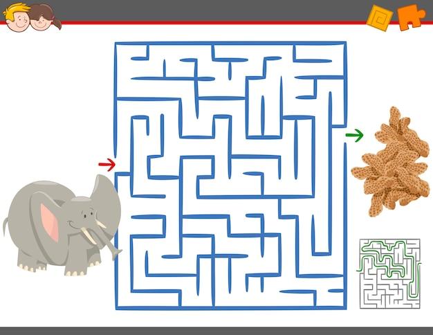 Labyrinth freizeitspiel mit elefanten