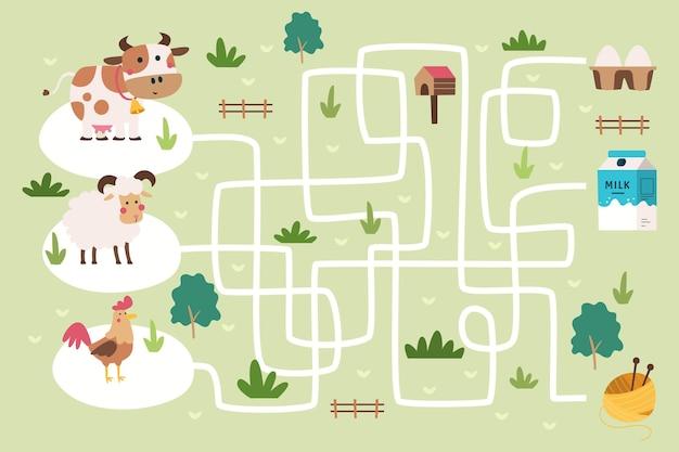 Labyrinth für kinder mit illustrierten elementen