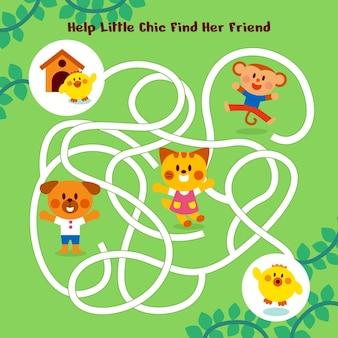 Labyrinth für kinder mit niedlichen kleinen tieren