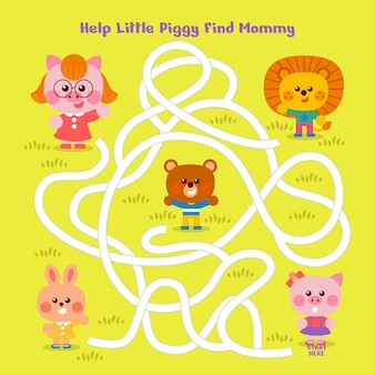 Labyrinth für kinder mit niedlichen tieren