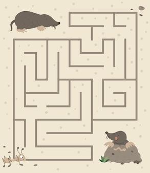 Labyrinth für kinder. vorschulaktivität mit maulwurf, der den boden gräbt und auf wurm geht.