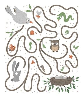 Labyrinth für kinder. vorschulaktivität mit vogel, der zu seinen kindern fliegt.