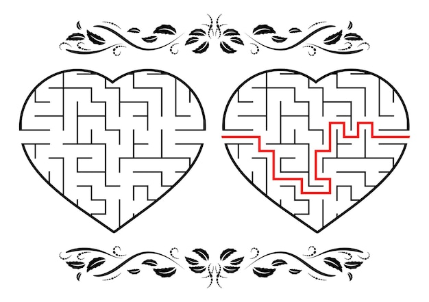 Labyrinth in form eines herzpädagogischen arbeitsblatts