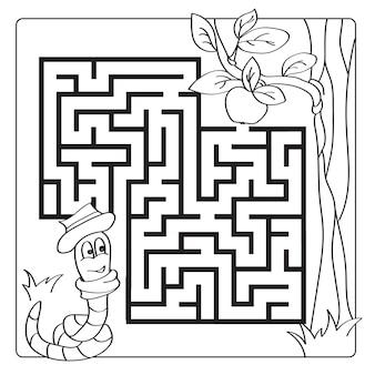 Labyrinth, labyrinth für kinder. eingang und ausgang. puzzle-spiel für kinder. hilf dem wurm, zum apfel zu kriechen. vektor-illustration