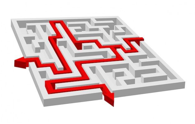 Labyrinth - labyrinthpuzzle für lösung oder erfolgskonzept