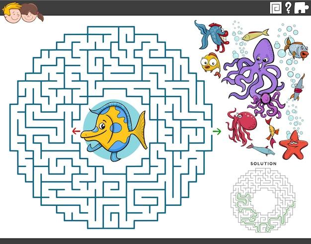 Labyrinth-lernspiel mit cartoon-fischen und meerestieren