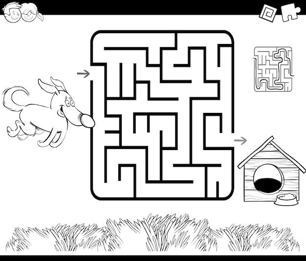 Labyrinth mit hund und zwinger färbung seite