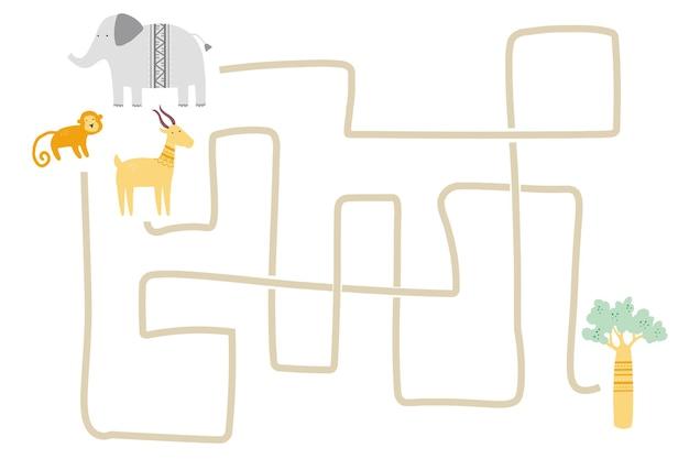 Labyrinth mit niedlichem afrikanischen tier für kinder. kinderlabyrinthspiel. illustration der gedankenaktivitäten.