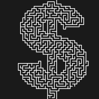 Labyrinth oder labyrinth geometrisches vektordesign. idee oder entscheidungskonzept
