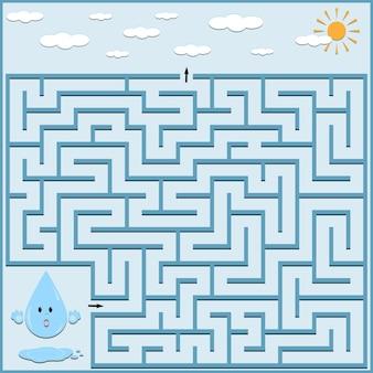Labyrinth-puzzle mit einem tropfen wasser, farbvektorillustration.