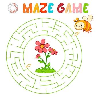 Labyrinth-puzzle-spiel für kinder. kreislabyrinth oder labyrinthspiel mit biene.