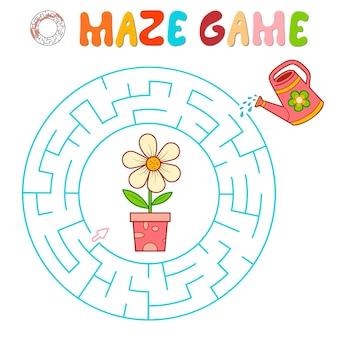 Labyrinth-puzzle-spiel für kinder. kreislabyrinth oder labyrinthspiel mit blume.