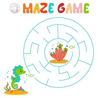 Labyrinth-puzzle-spiel für kinder. kreislabyrinth oder labyrinthspiel mit fischen.
