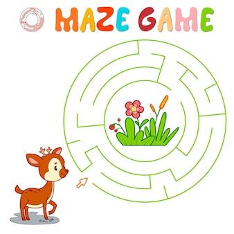 Labyrinth-puzzle-spiel für kinder. kreislabyrinth oder labyrinthspiel mit hirschen.