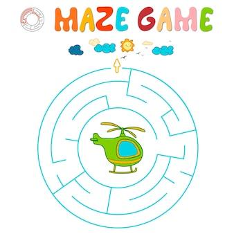 Labyrinth-puzzle-spiel für kinder. kreislabyrinth oder labyrinthspiel mit hubschrauber.