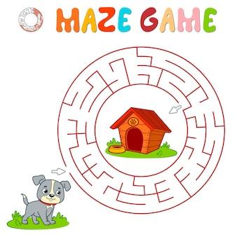 Labyrinth-puzzle-spiel für kinder. kreislabyrinth oder labyrinthspiel mit hund.