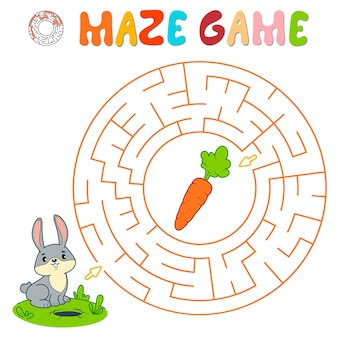Labyrinth-puzzle-spiel für kinder. kreislabyrinth oder labyrinthspiel mit kaninchen.