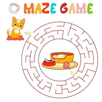 Labyrinth-puzzle-spiel für kinder. kreislabyrinth oder labyrinthspiel mit katze.